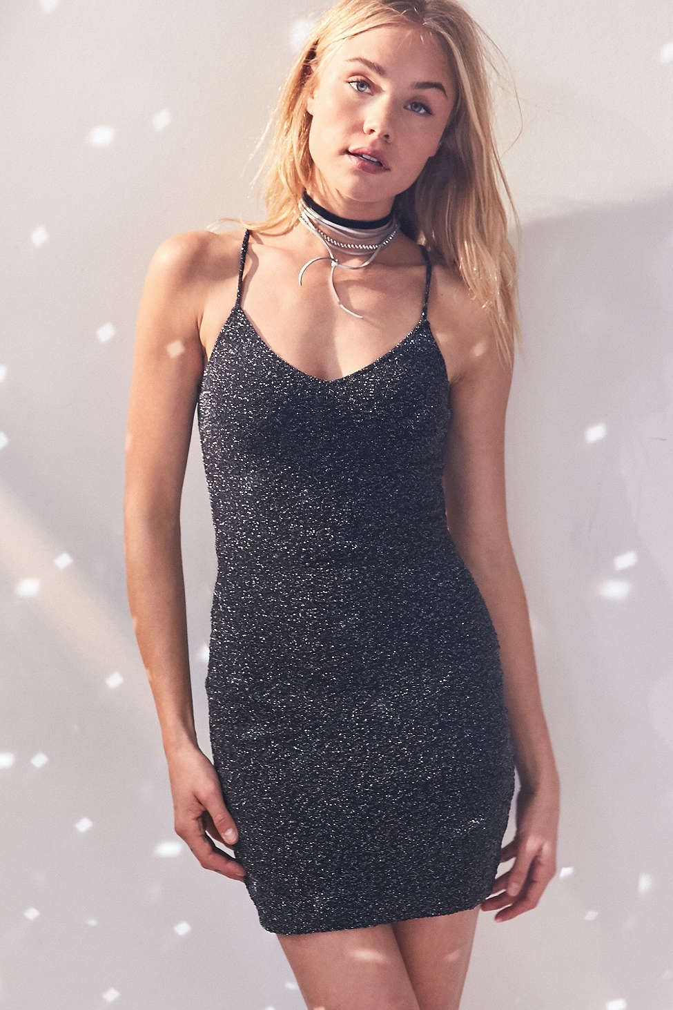 b15f96be Silence + Noise Bandeau Back Bodycon Shimmer Dress - Urban Outfitters