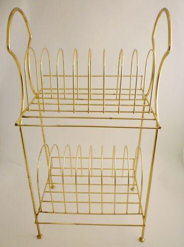 Vintage Retro Golden Wire Standing Record Rack Mid Century
