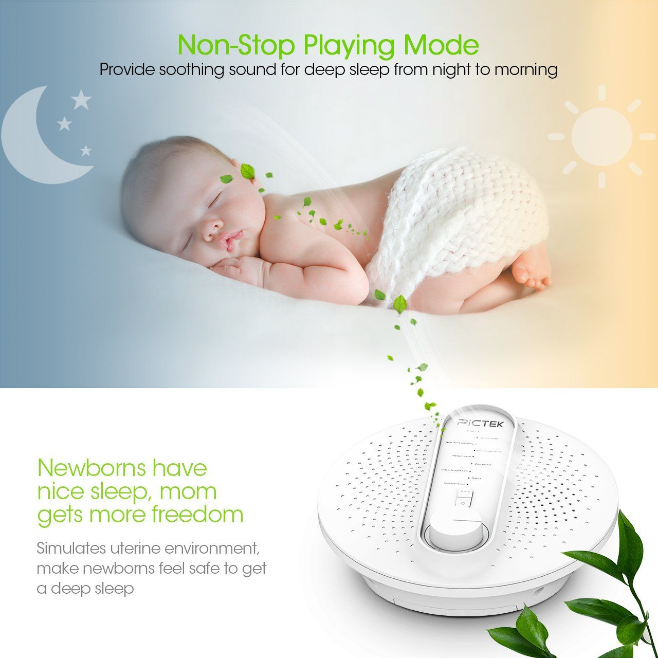 24 Timer Sound pictek white noise machine 24 soothing sleep therapy sound