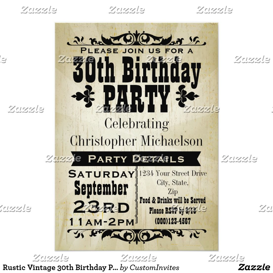 Rustic Vintage 30th Birthday Party Invitation Zazzle Com 30th