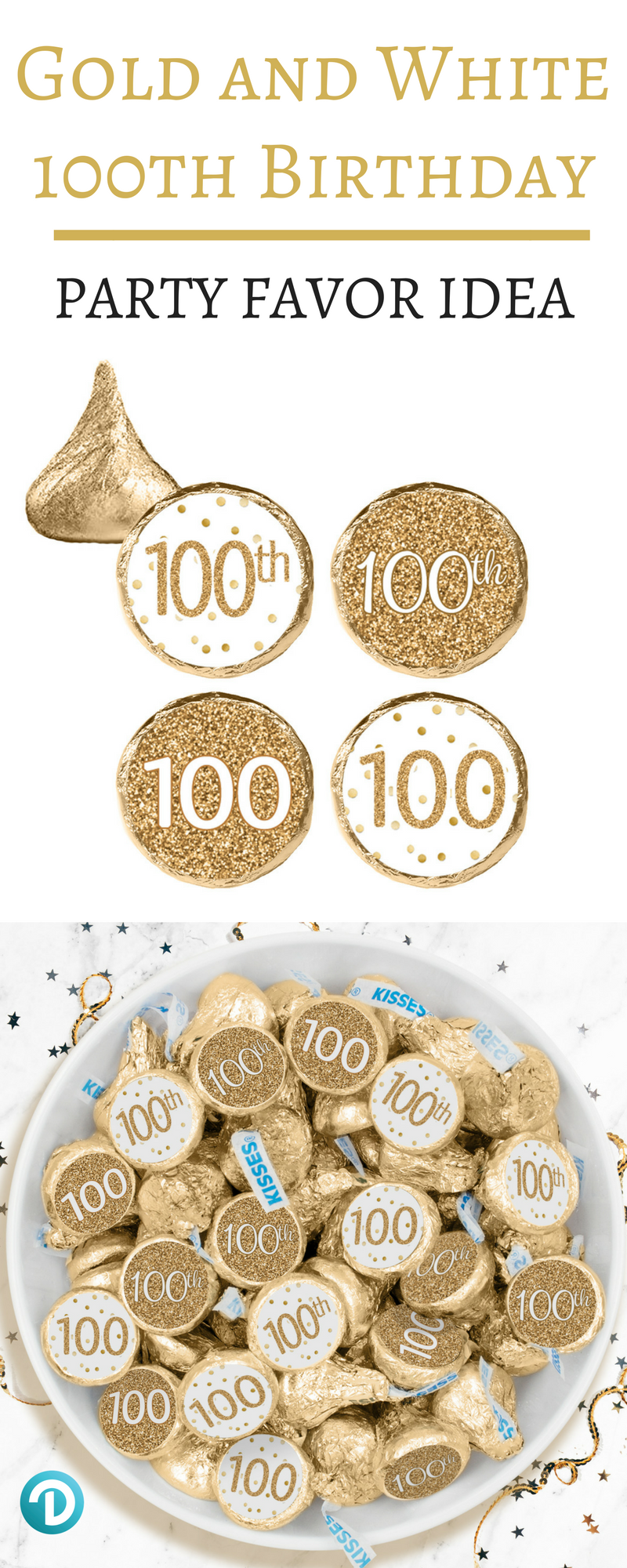 These White And Gold 100th Birthday Party Favor Stickers Are The Perfect Final Detail To Add To Your 100th Birthday Party Birthday Party Favors 100th Birthday