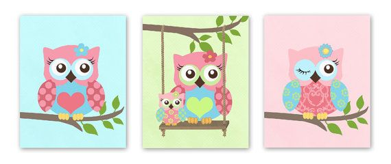 Owls Nursery Art Set Of 3 8x10 Prints Pink And Aqua Print Owl Decor For Room