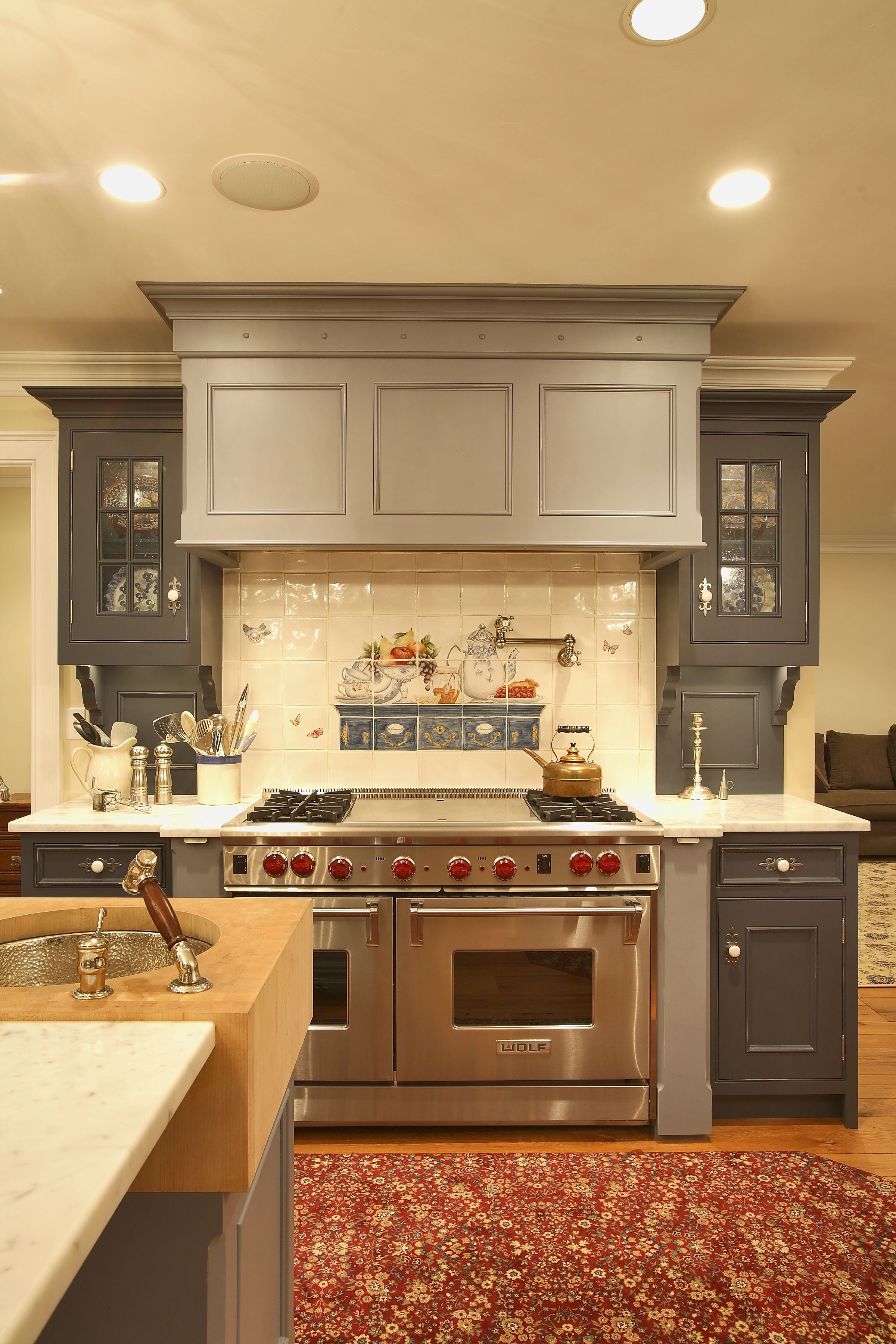 Kitchen Cabinets With Red Knobs Stainless Steel Stove With Red Knobs Ceramic Tile Back Splash