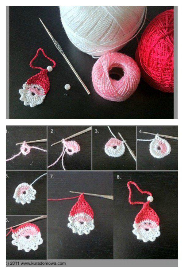 Santa Ornament Free Crochet Pattern | Navidad, Ganchillo y Tejido