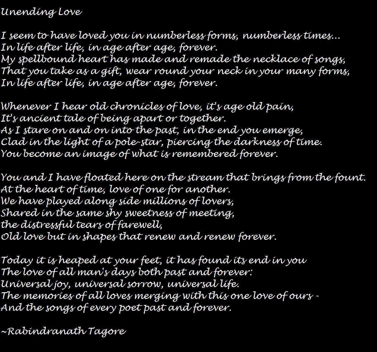 Unending Love Rabindranath Tagore