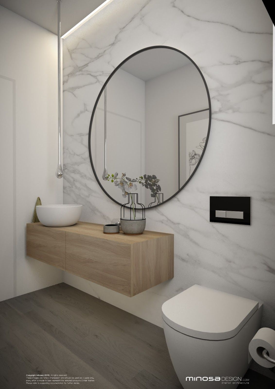 Powder room with marble wall