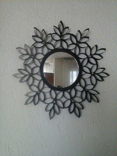 Espejo con marco de rollo de papel reciclaje pinterest - Espejo de papel ...