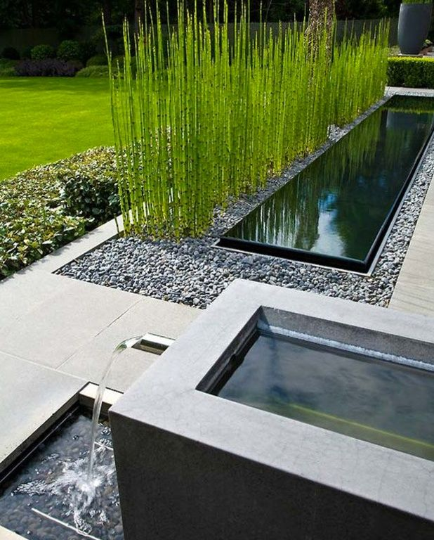 Contemporary landscape yard with raised beds bamboo grass for Contemporary pond design