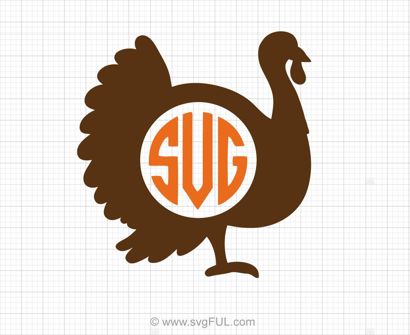 Turkey Monogram Thanksgiving SVG Clip Art Clip art