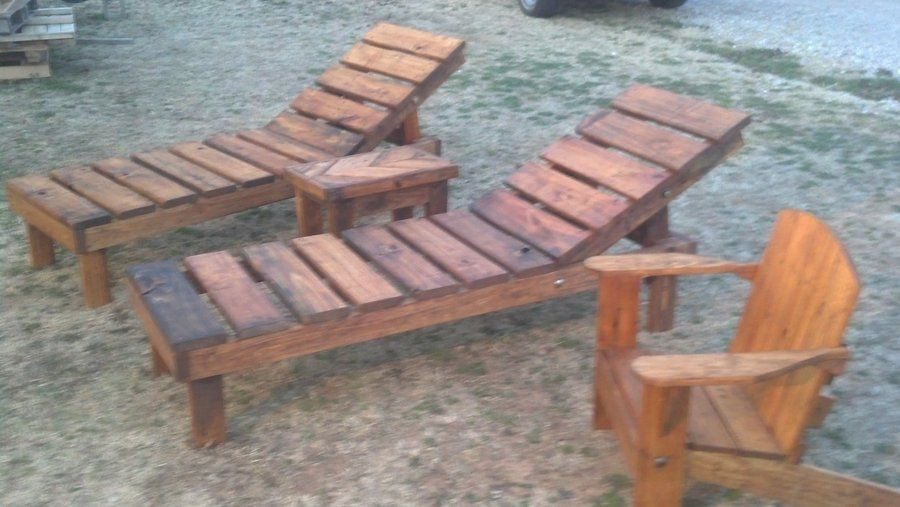 Reclaimed pallet wood chaise lounge chairs (adjustable) with chevron table : make your own chaise lounge - Sectionals, Sofas & Couches