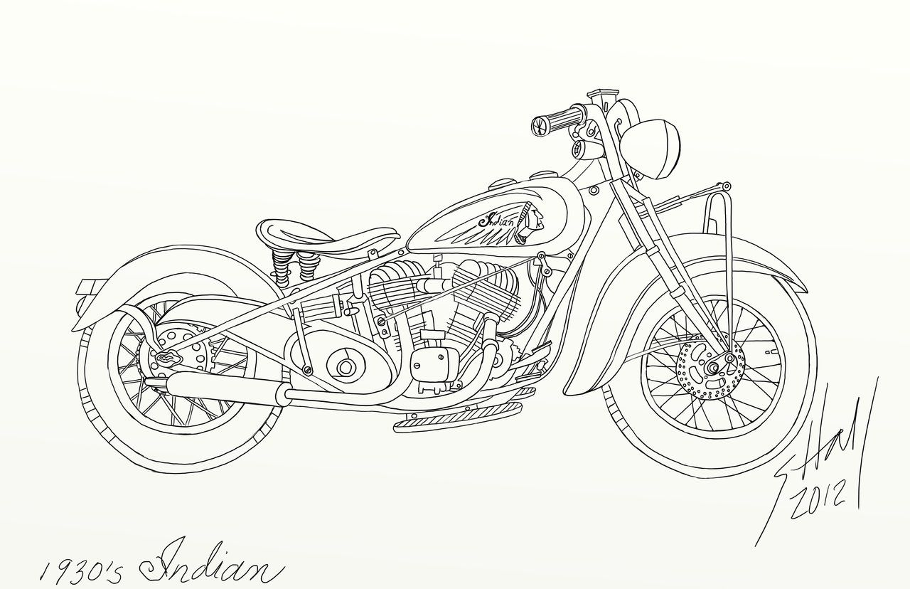 Navy Drawings Indian Motorcycle Line Drawing By Steverino365