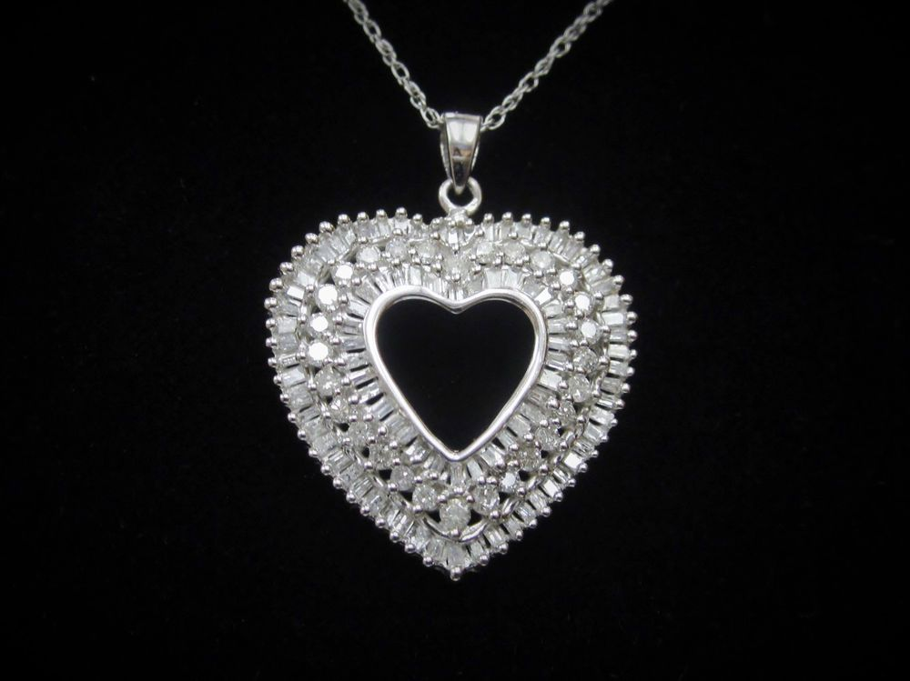 2 Ct Round Baguette Natural Diamond Heart Pendant Necklace 10k White Gold Heart Pendant Diamond Diamond Heart Pendant Necklace Heart Pendant Necklace