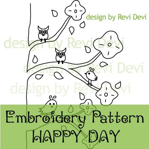 Happy Day 15047 Cute Embroidery Pattern Pdf Download Redwork 2