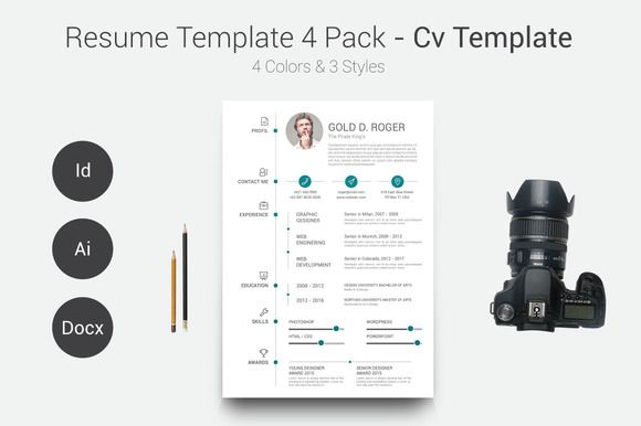 FREE DOWNLOAD! Resume/CV Template 4 Pack by Ryanda on Creative