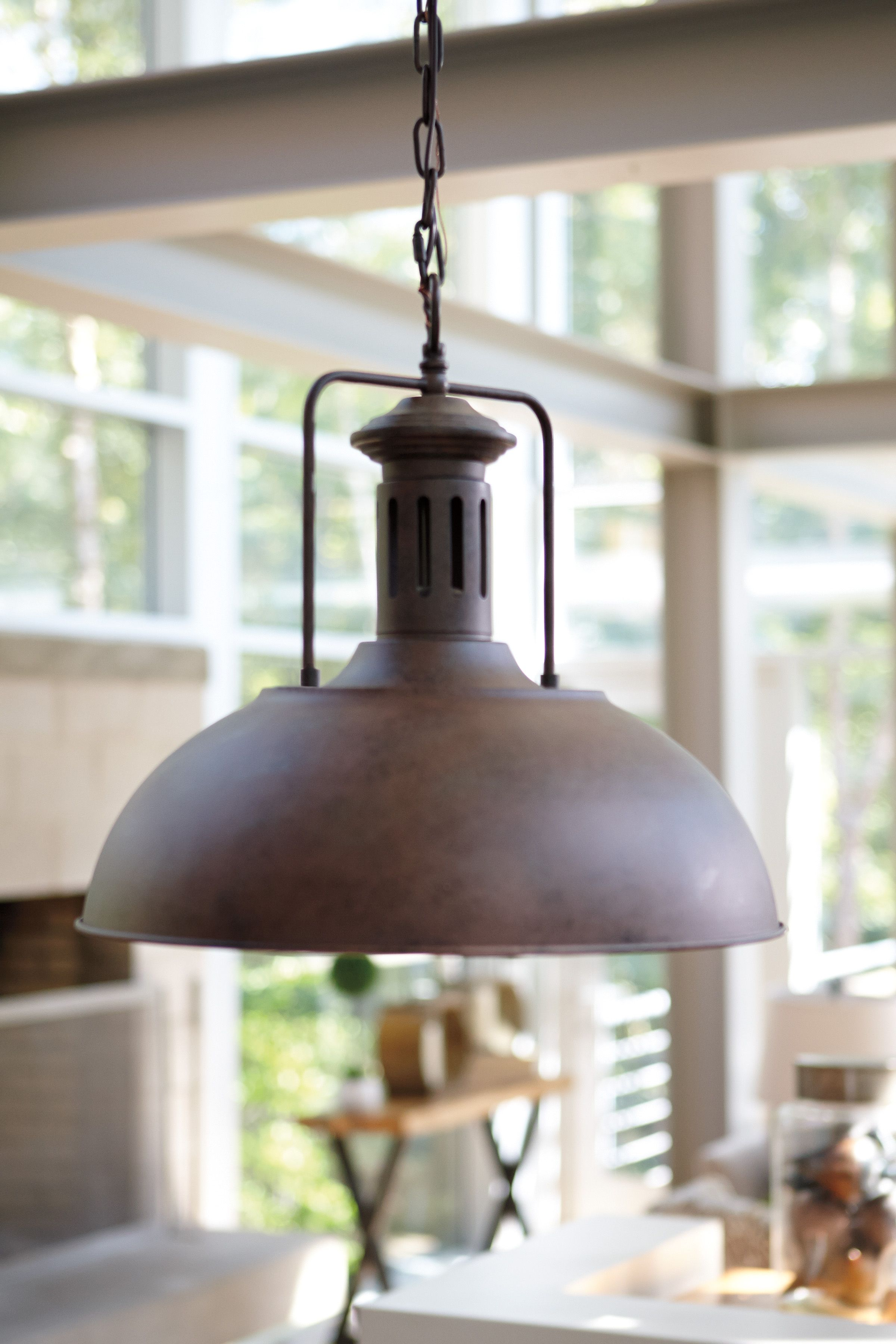 Country Chic Pendant Lights In A Rustic Metal Finish