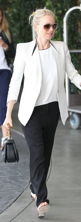 f372af2777fb Naomi Watts: Jacket – Helmut Lang Purse – Gucci | Professional ...