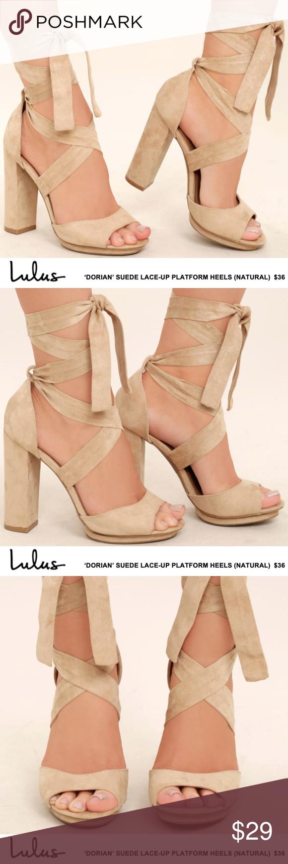 70c746a007b NWOT: Lulus - 'Dorian' Suede Lace-Up Platform Heel 'Dorian' Suede ...