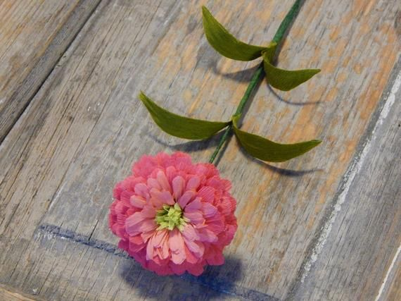 Pink Zinnia Paper Flower Paper Flower Wedding paperflower bouquet paper flower wall decor paper flower arrangement paper flower centerpiece #paperflowercenterpieces