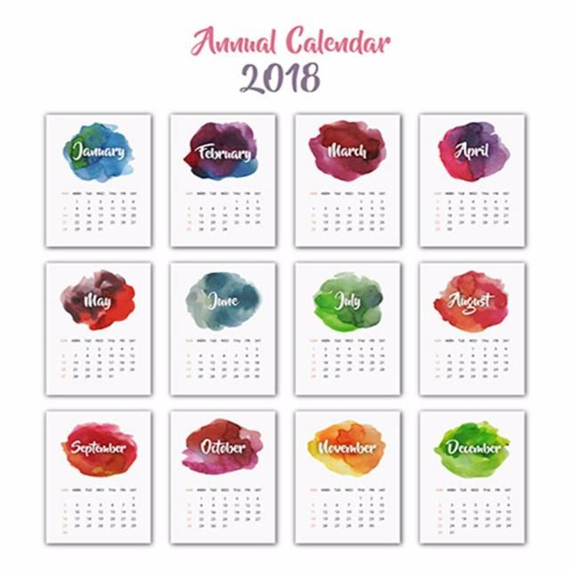 Watercolor Splatter anual calendario 2018 | cumple mascotas ...