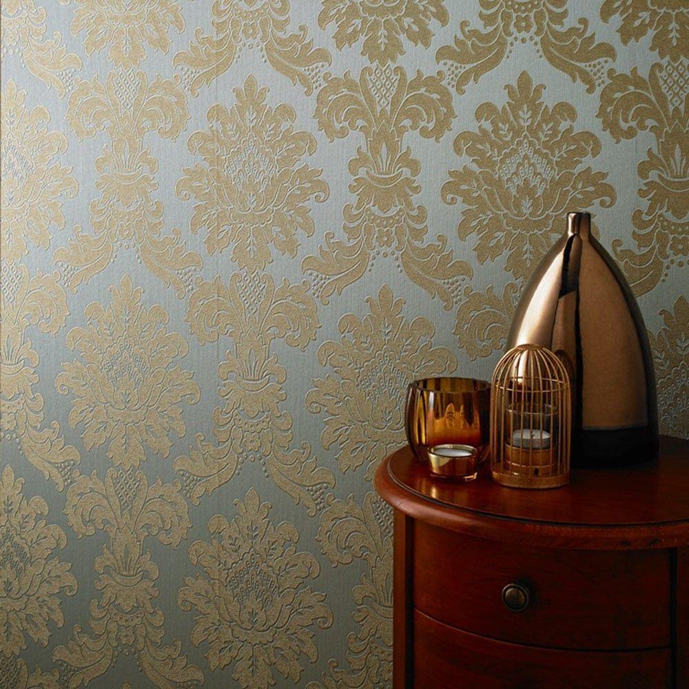 Ravello Messina Damask Wallpaper Teal Gold