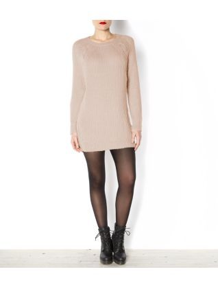 Biscuit (Stone ) Nude Cable Knit Jumper Dress | 276668615 | New Look