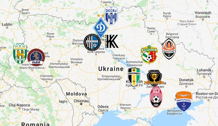 2019 Ukrainian Premier League Map Premier League Premier League Soccer Map