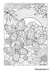 Butterflies and Flowers Adult Coloring Page | Butterfly ...