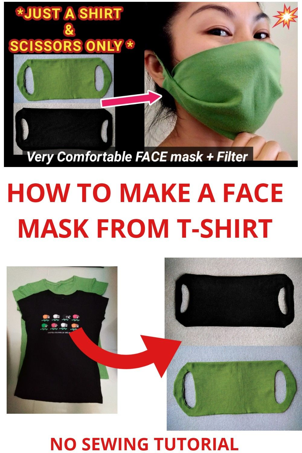 ️ NO SEW FACE MASK FROM TSHIRT WITH FILTER POCKET. DIY