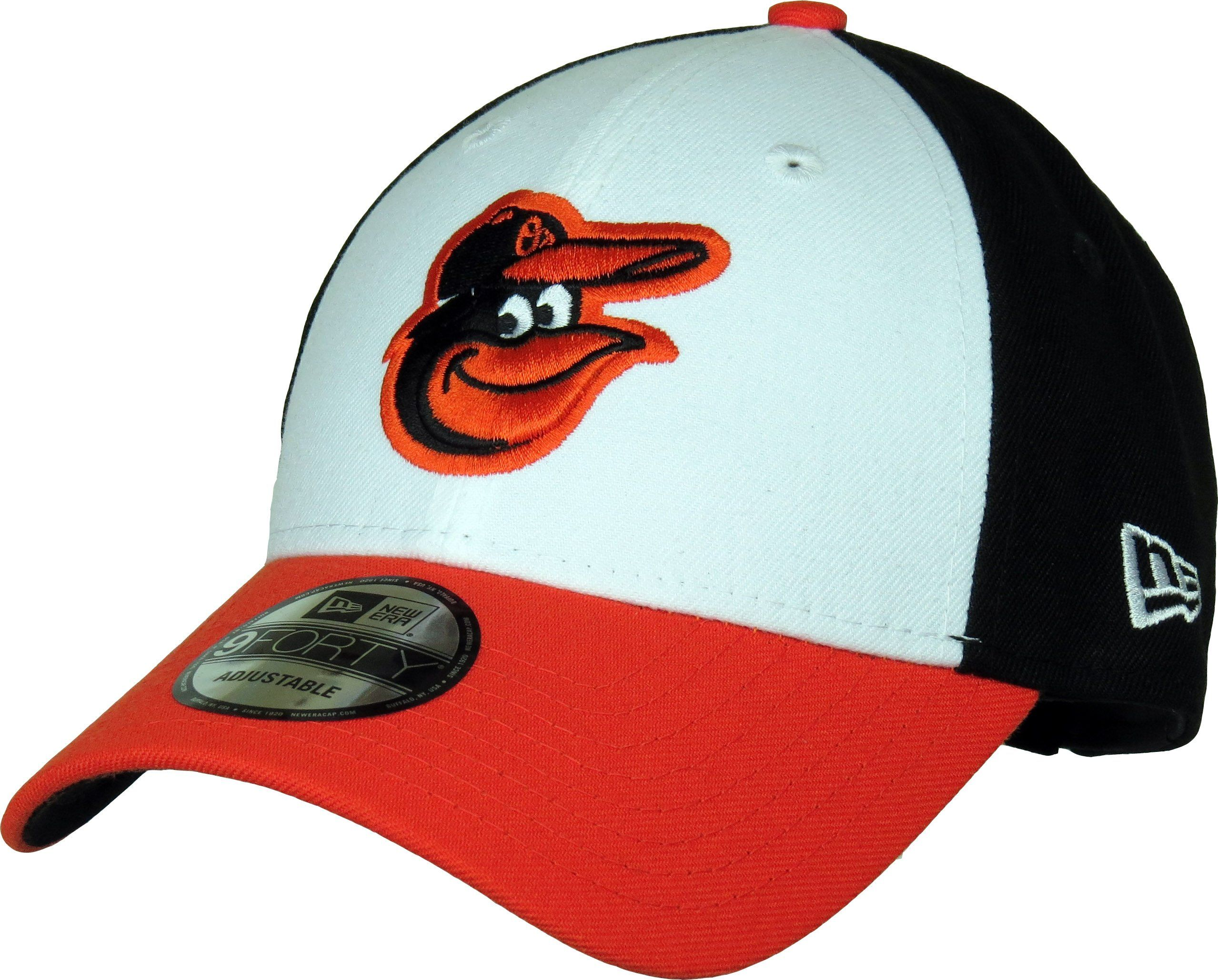 78f48ad9ba5 New Era 9Forty MLB The League Adjustable Baseball Cap. White front with the  Baltimore Orioles
