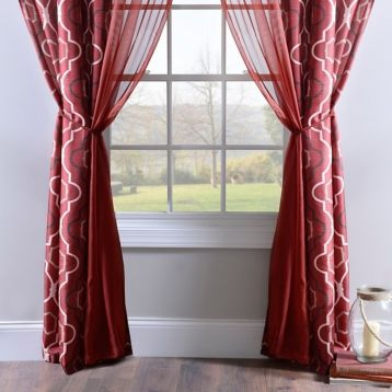 charming red curtains printed panels sheer photo bright door blackout inch of style patterns curtain