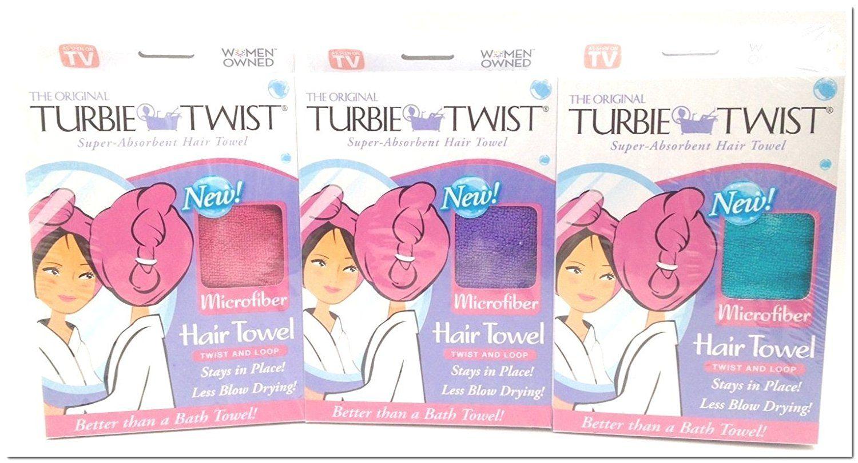 Turbie Twist Microfiber Super Absorbent Hair Towel 3 Pack Pink Purple Aqua