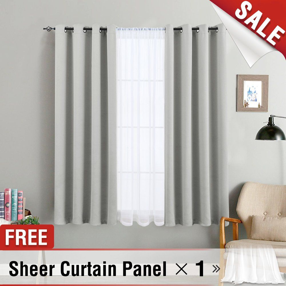 Blackout Curtains For Bedroom Grey Curtain Panel Thermal Insulated