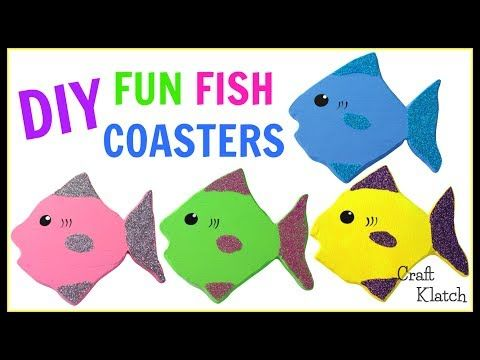 (51) Fun Glitter Fish Coasters DIY ~ Another Coaster Friday ~ Craft Klatch - YouTube