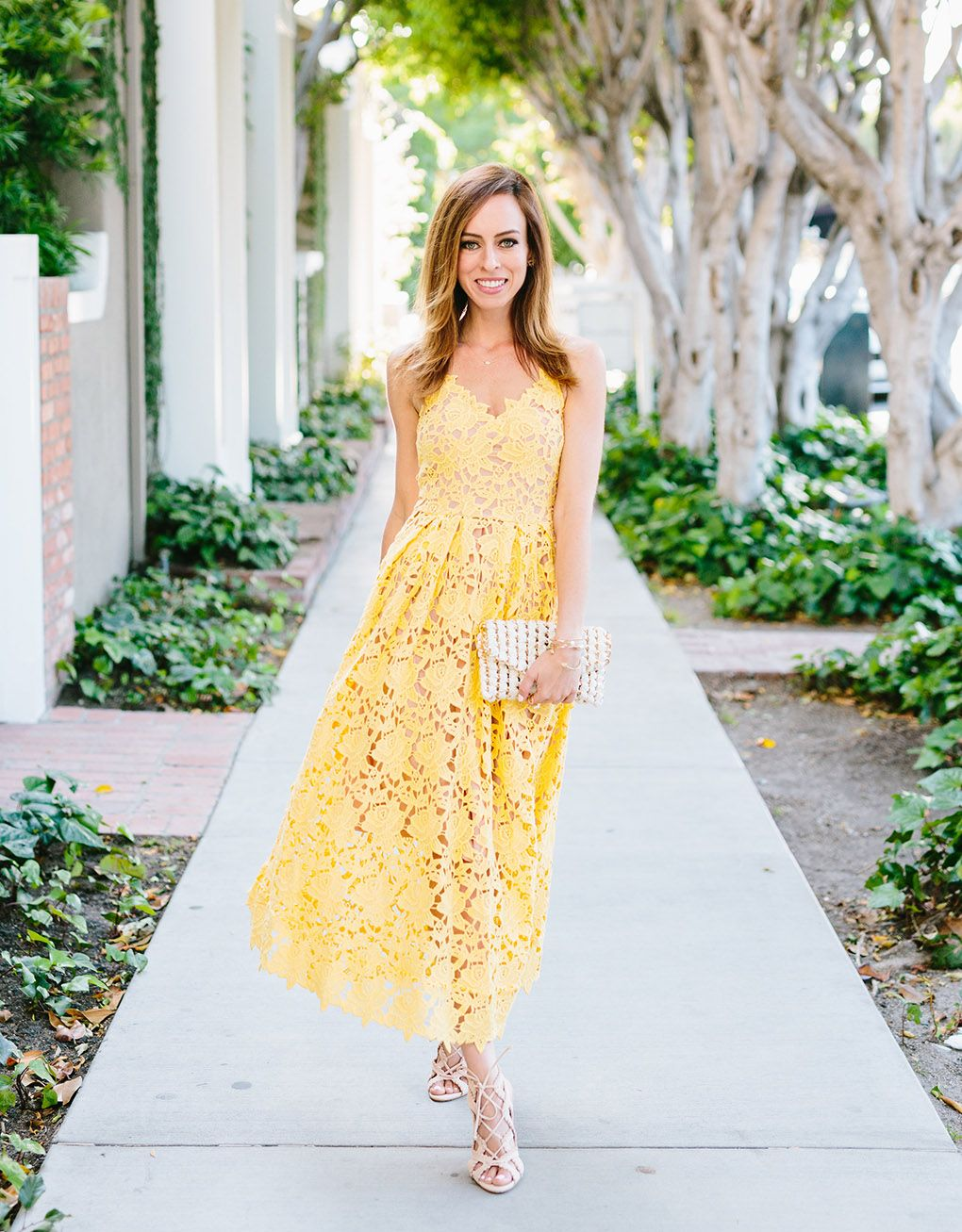 f228a4d39ea Sydne Style wears H m yellow lace dress inspired by Self Portrait celebrity  favorite