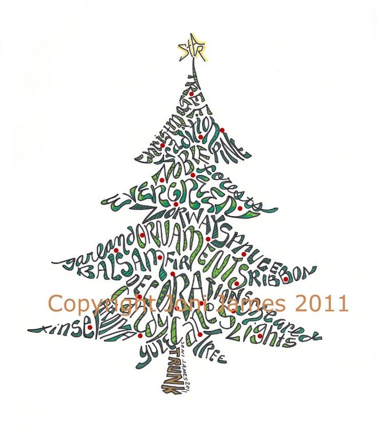 Christmas Tree Calligram Google Search Word Art Typography Creative Lettering Word Art