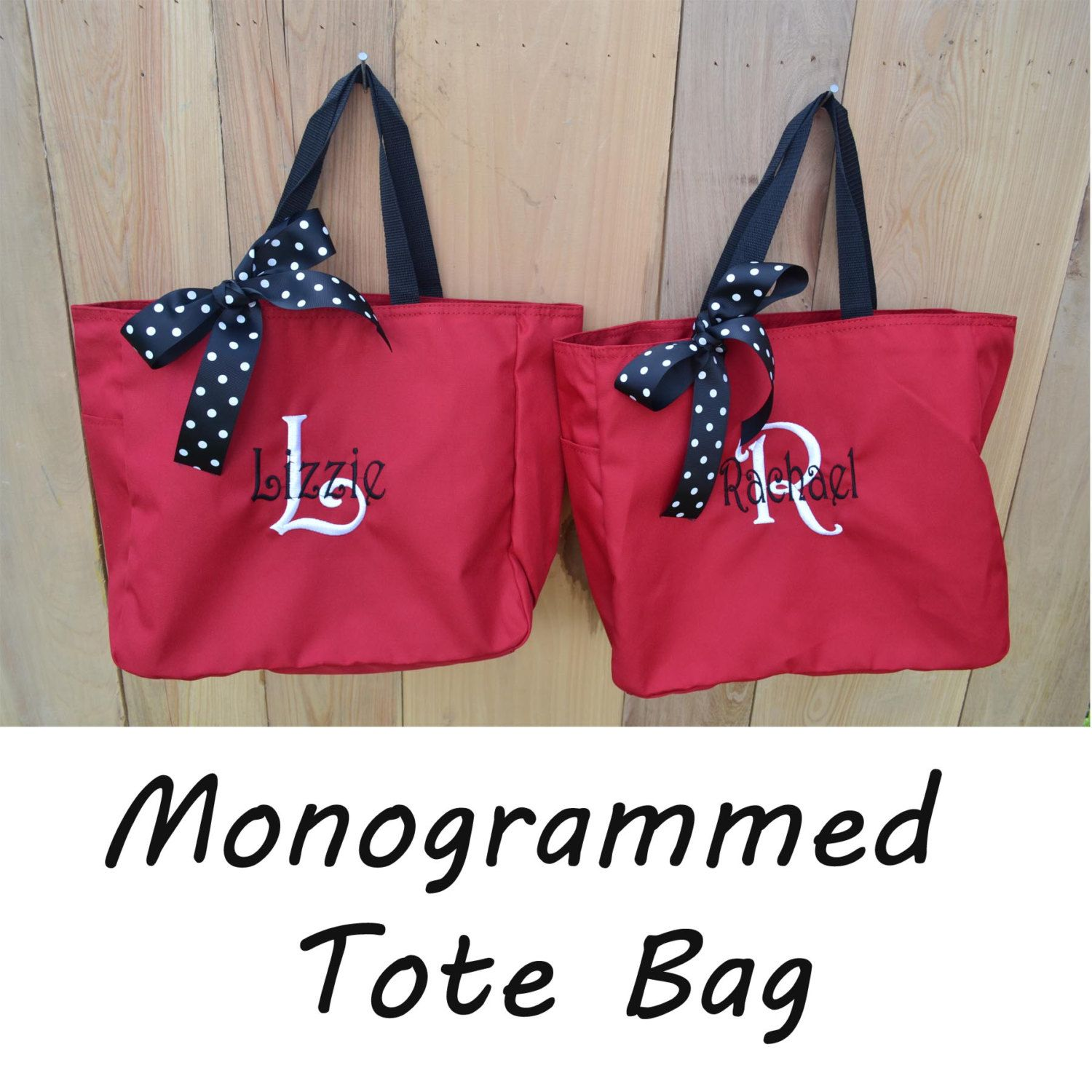 Personalized Tote Bag Monogram Bride Bridesmaid Gift Bridal Wedding Party Beach