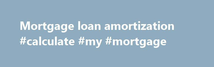 Mortgage Loan Amortization Calculate My Mortgage HttpMoney