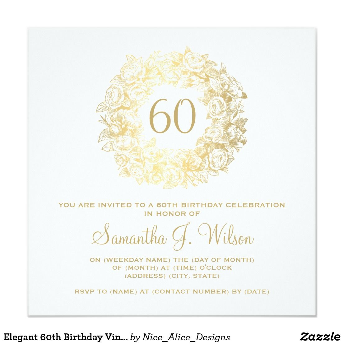 Elegant 60th birthday vintage roses gold card rose decor and birthdays elegant 60th birthday vintage roses gold card filmwisefo Choice Image