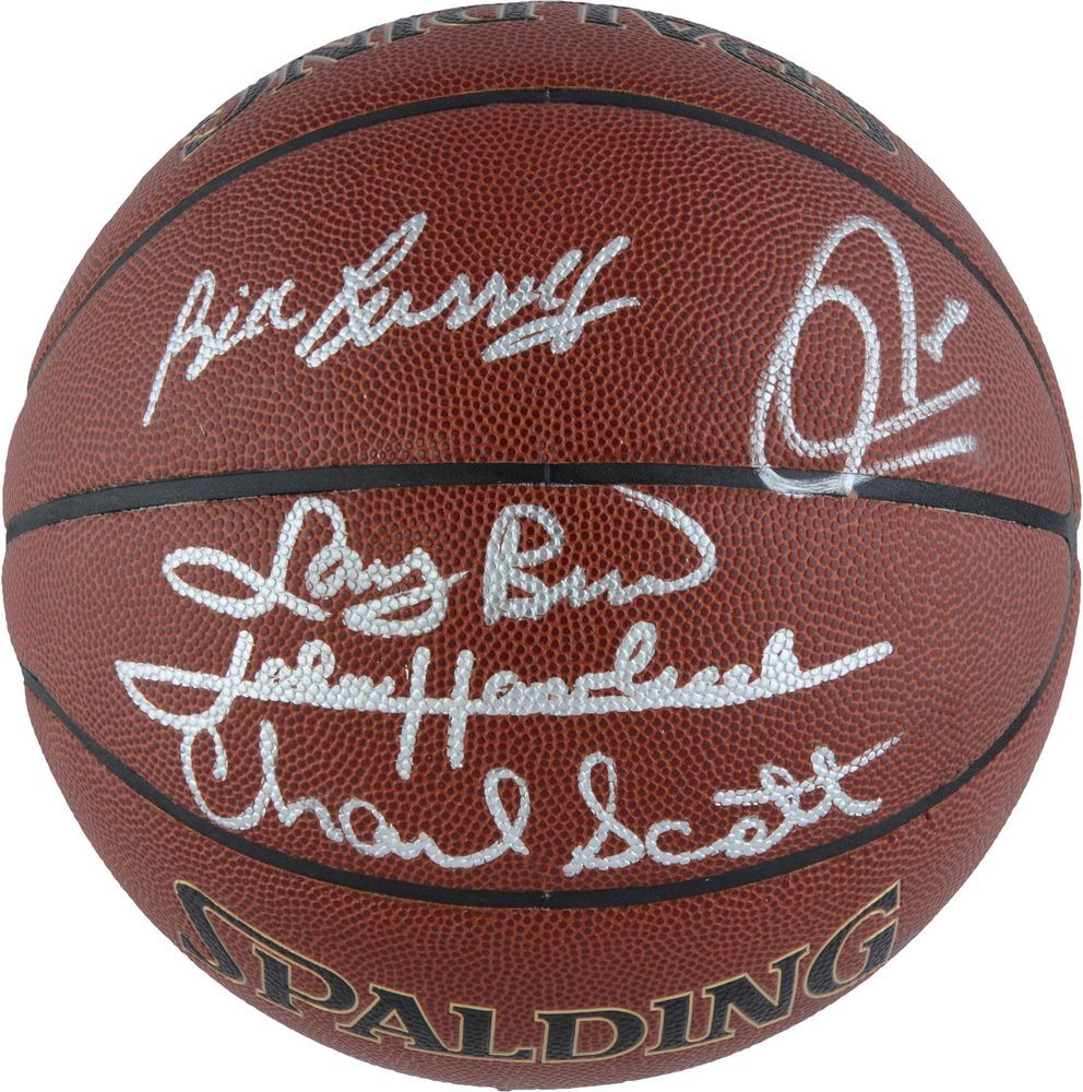f2c4cf4808e Boston Celtics Autographed Indoor Outdoor Legends Basketball 5 Signatures   Basketball