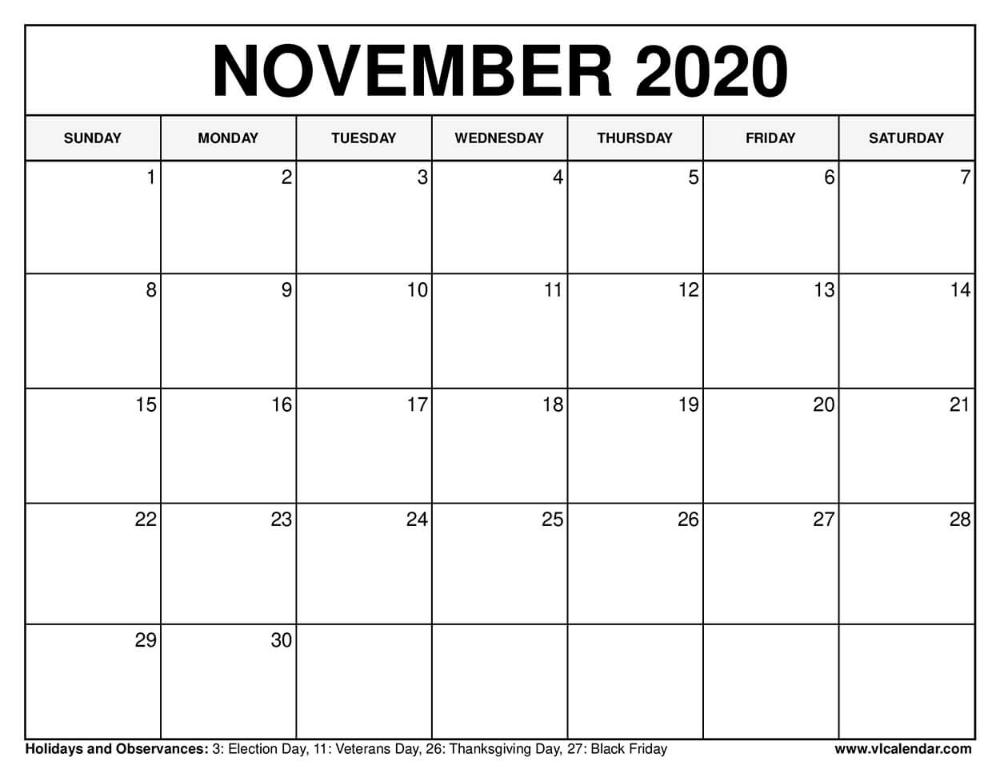 November 2020 Calendar In 2020 Usa Calendar November Calendar Calendar