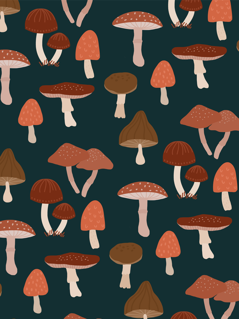 Free Desktop Wallpaper Background Print Pattern With Flowers Mushrooms Illustration Muchable Mushroom Wallpaper Mushroom Background Stuffed Mushrooms