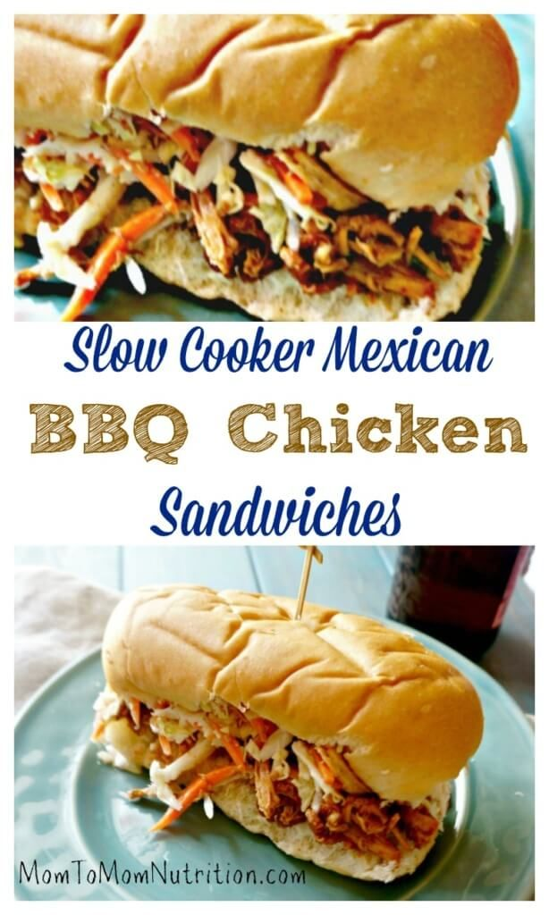 Slow Cooker Mexican BBQ Chicken Sandwiches: 3 unlikely ingredients come together with almost no prep to create one out of this world slow cooker meal! @MomNutrition