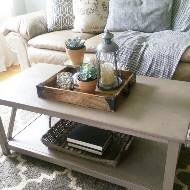 Tray Coffee Table Makeover: Coffee Table Styling. Gray Wash Coffee Table. Tray With