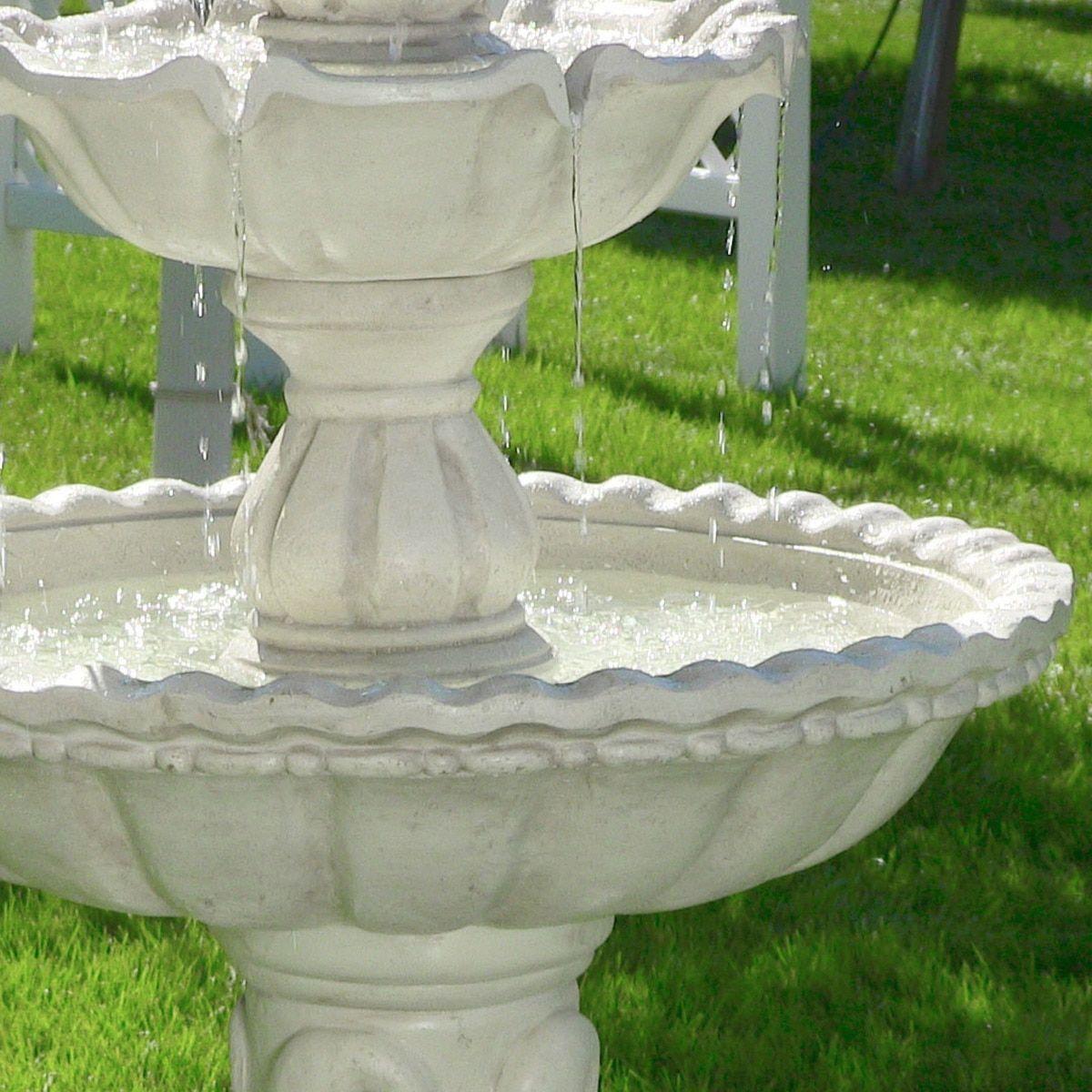 Sunnydaze Welcome 3 Tier Garden Fountain 59 Inch Tall Tiered Garden Garden Fountain Fountain