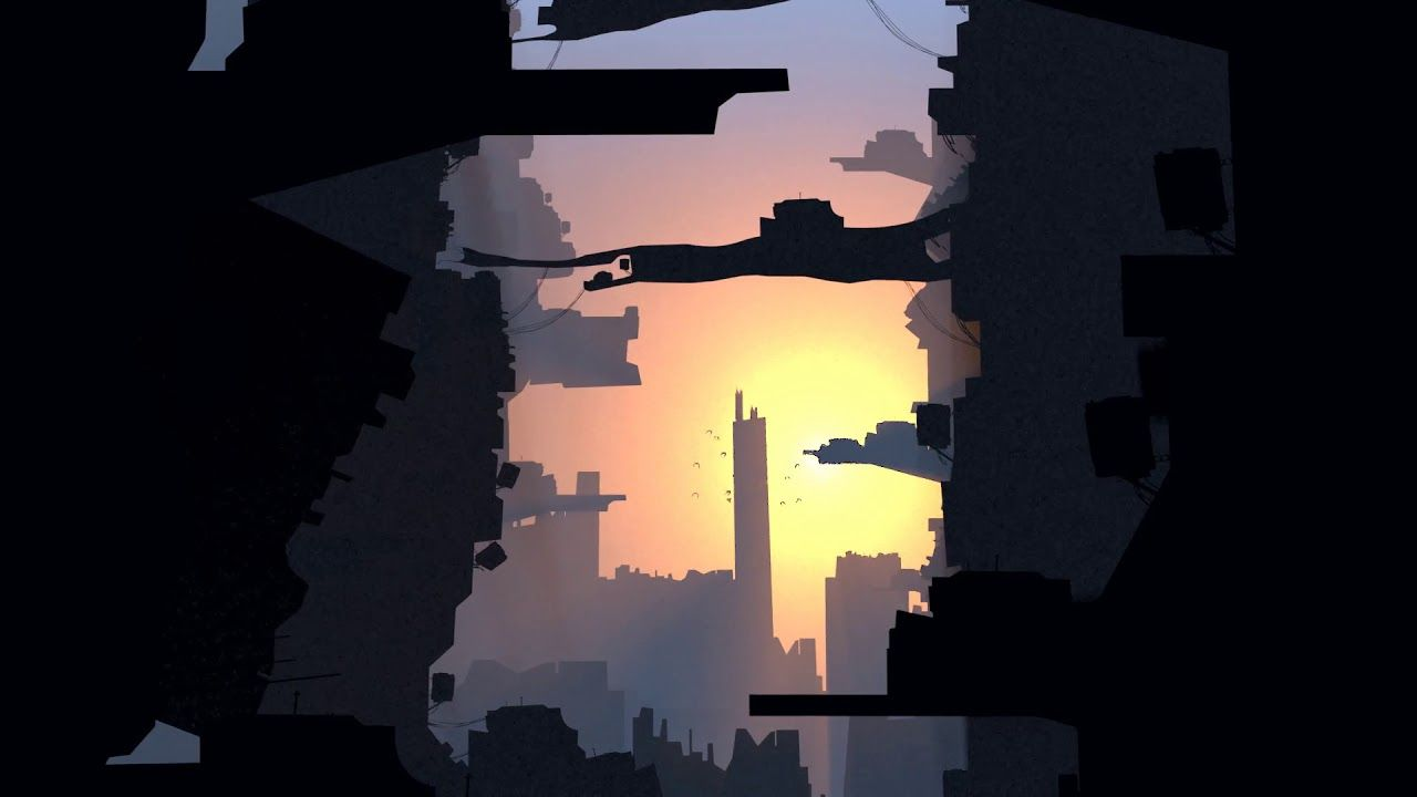 Industrial City Scape Sunrise  Parallax animation, animated