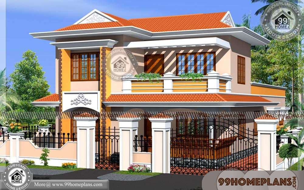 New Kerala Homes With Double Story Homes For Small Blocks Having 2 Floor 4 Total Bedroom 4 Total B Model House Plan Kerala House Design Bungalow House Design