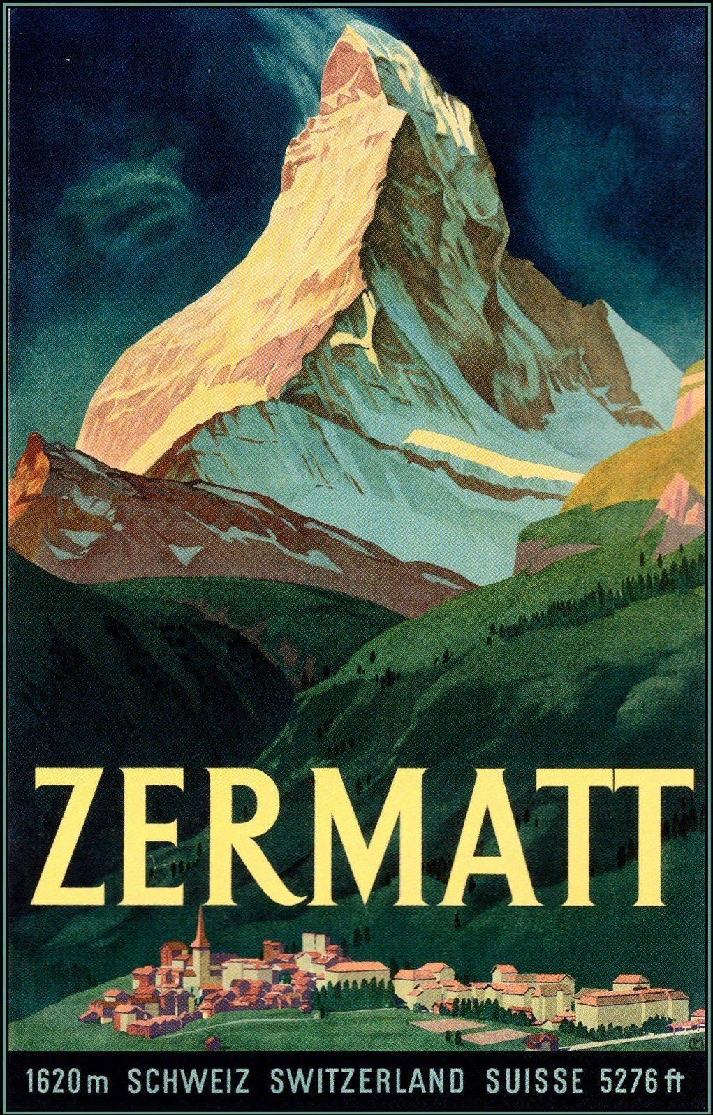 Switzerland - Zermatt - Vintage Poster Travel Art Print on Canvas