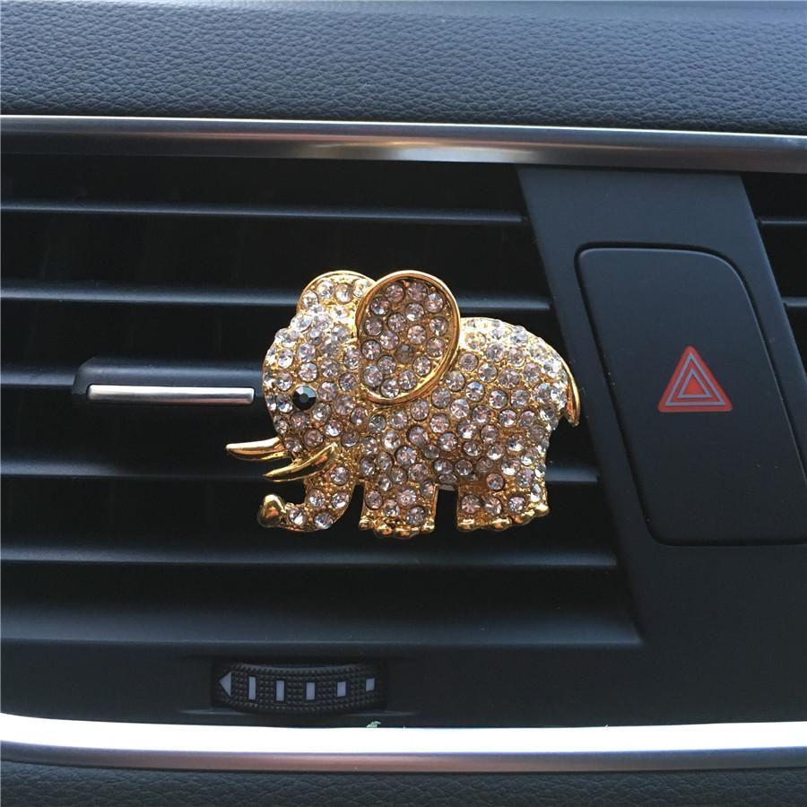 Online Shop Hazy Beauty High Grade Diamond Crystal Elephant Car Perfume Clip Lady Car Styling Air Outlet Accessories Air F Car Bling Elephant Car Car Freshener