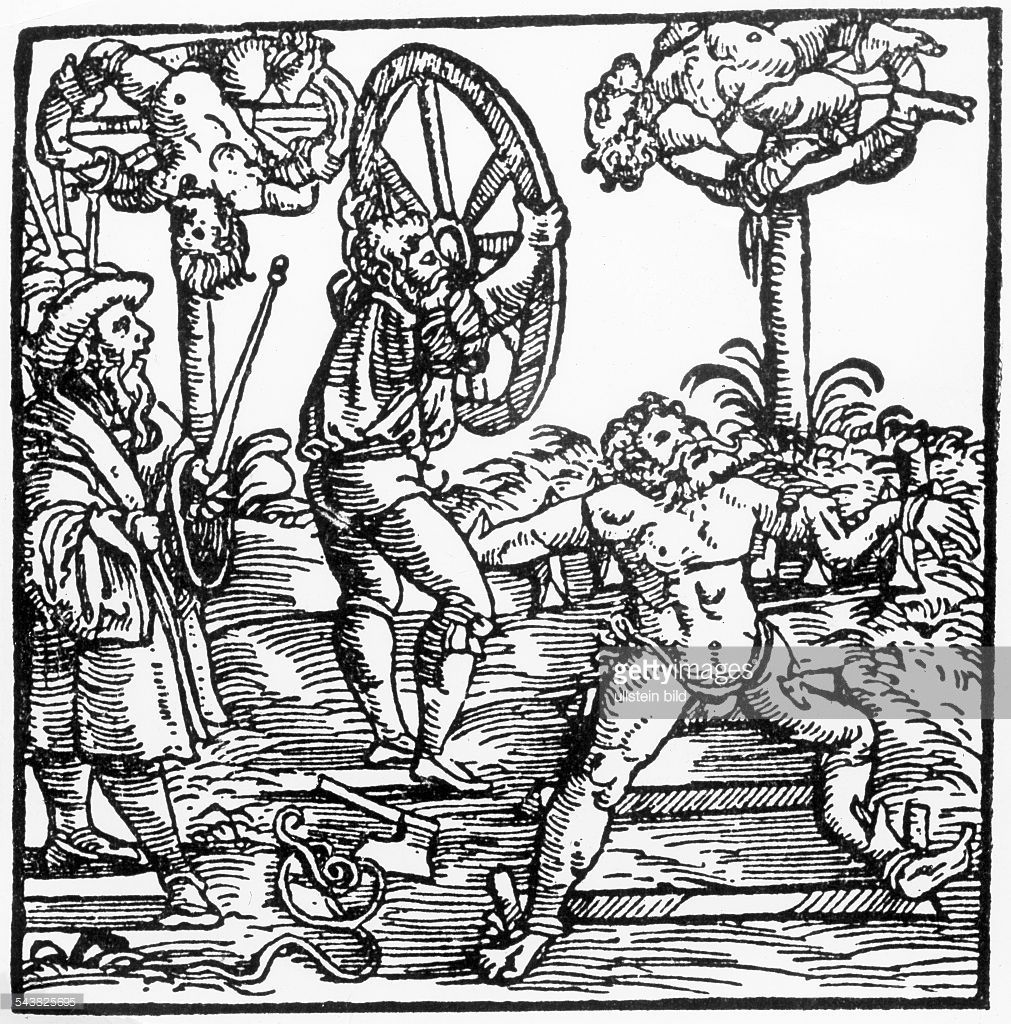 torture-in-medieval-times-breaking-on-the-wheel-woodcut ...