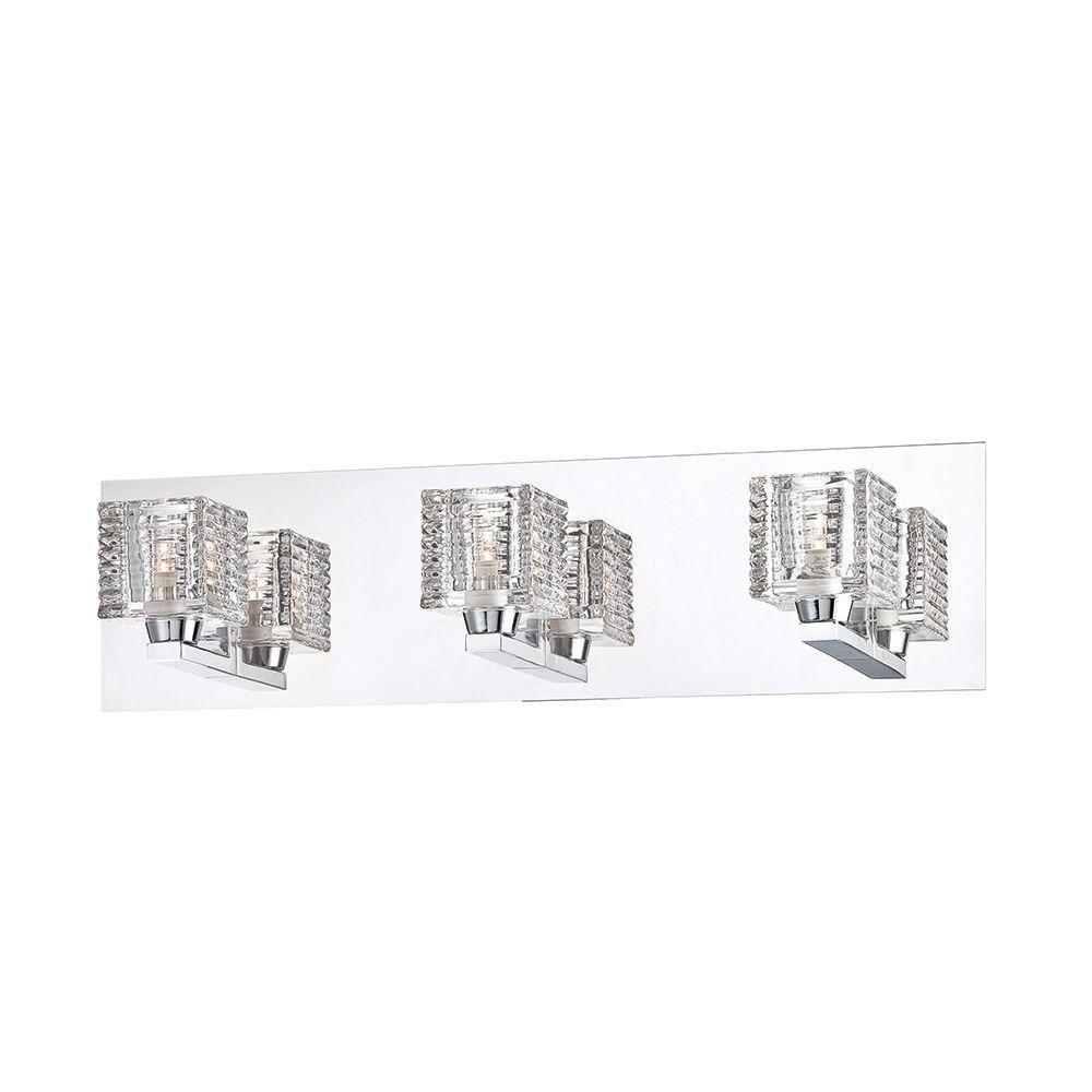 Hampton Bay Olivet 3 Light Chrome Vanity Light With Cube Glass Shades 25723 Hbu Bath Light Glass Shades Vanity Lighting